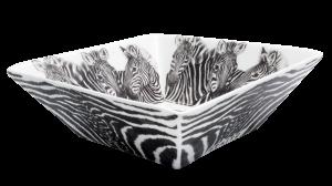 Servizio fotografico Prodotti Catalogo E-Commerce Taitù Milano Collezione Wild Spirit Porcellana Fine Bone China Ciotola quadrata Zebra vista laterale